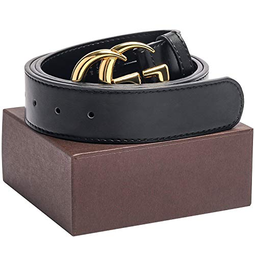 Gold/Silver Buckle Black Leather Unisex Fashion Belt for Men or Women Jeans Pants Shorts Dresses ~ 3.8cm Belt ()