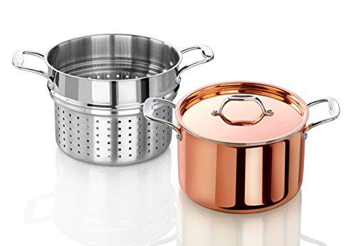 Artaste 56877 Rain Tri-Ply Copper Clad Induction Ready Stock Pot with Steamer, 7.5-Quart by Artaste