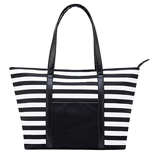 (Cieovo Large Beach Bag For Women Waterproof Oxford Tote Bags With Leather Handle (Black-White Stripe, Large))