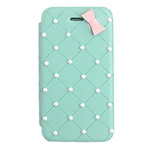 WEV Elegant Bowknot Pearl PU Leather Full Body Case for iPhone 4/4S(Assorted Color) , White