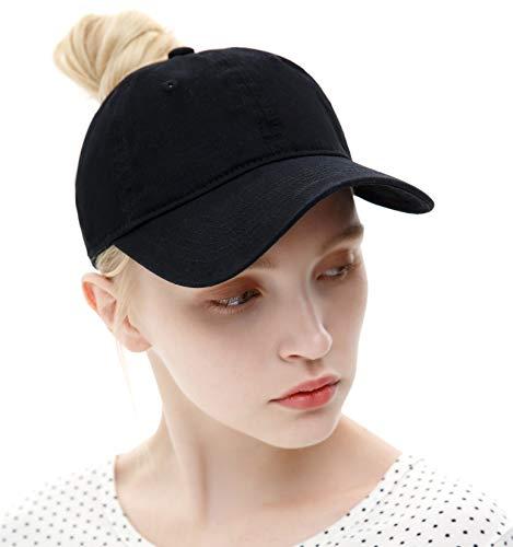 a40c8e82e ELLEWIN Ponytail Messy High Bun Hat Ponycaps Adjustable Cotton and Trucker Baseball  Cap Black