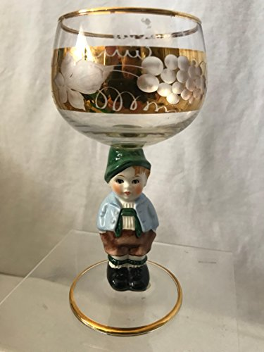 (GOEBEL Hummel Figurine Wine Glass, Bavarian Boy Goebel Wine Glass, West Germany Wine Glass 5-1/2