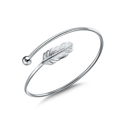 Jenny Baby S925 Sterling Silver Women Bracelet Vintage Style Adjustable Feather Bangle - Sterling Silver Gold Feather