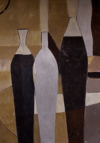 Brown Painting Artwork for Living Room Bedroom Bathroom Gray Black and White Minimalist Minimal Still life with Bottles on CANVAS PRINT Elegant Trendy for Wall Art Work Modern Cubism - Glasses For Triangle Face Shape