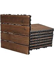 Floor Decking Interlocking Flooring Tiles 8pcs Wood Floor Tiles Interlocking Patio Deck Tiles Outdoor Flooring DIY Spliced Anti-Corrosion Waterproof for Patio Garden Deck Poolsid Chihen210702