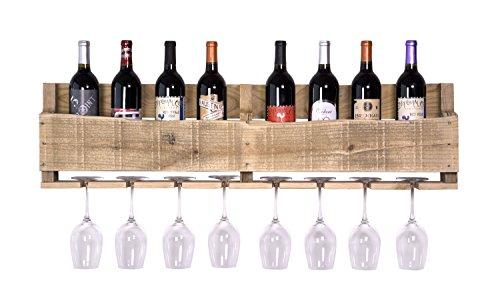 DAKODA LOVE - The Olivia Wine Rack, USA Handmade Reclaimed Wood, Wall Mounted, 8 Bottle 8 Long Stem Glass Holder (Natural)
