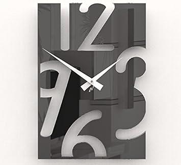 Reloj de pared moderno RJM248B. Tamaño 40x27cm. Plexiglass Negro. Manecillas blancas.: Amazon.es: Hogar