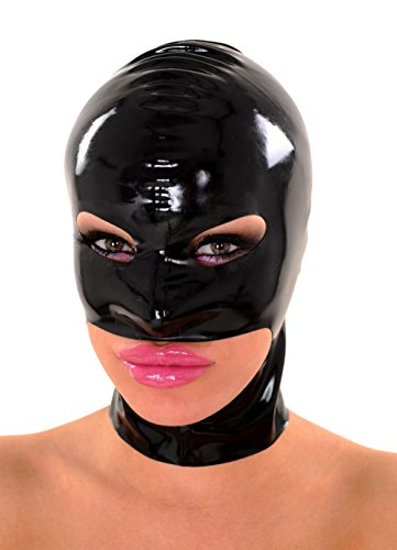 EXLATEX Rubber Latex Accessories Hood Holes for Eyes Nose and Jaw (Medium, Black)