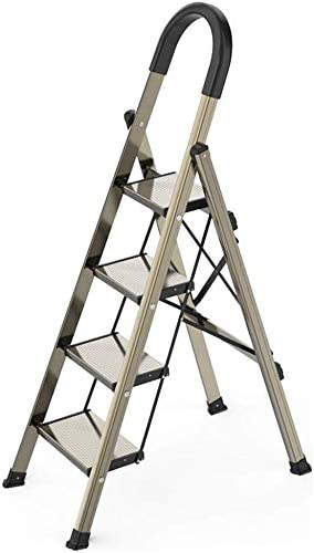 JLDN Escalerilla, 4 Peldaños Escalera Plegable escaleras de Tijera de Escalera con Apoyabrazos Resistente y Ancha Antideslizantes de la aleación de Aluminio Portable Peso Ligero,A: Amazon.es: Hogar