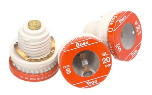 Bussmann BP/SL-20 20 Amp Time Delay Loaded Link Rejection Base Plug Fuse, 125V UL Listed Carded, 3-Pack 398171