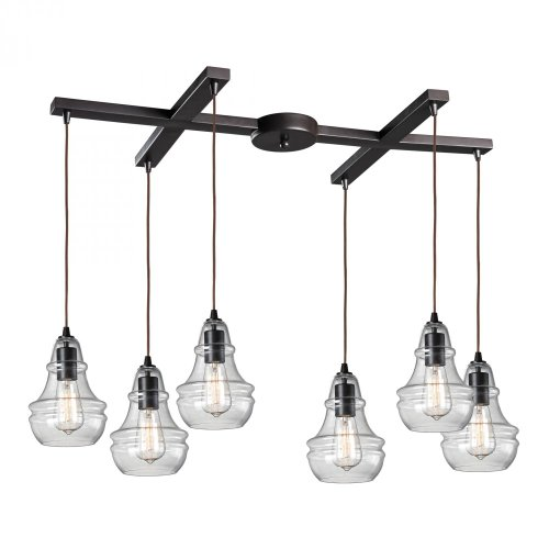 - Elk 60047-6 Menlow Park 6-Light Pendant, 33 by 9-Inch, Oiled Bronze Finish