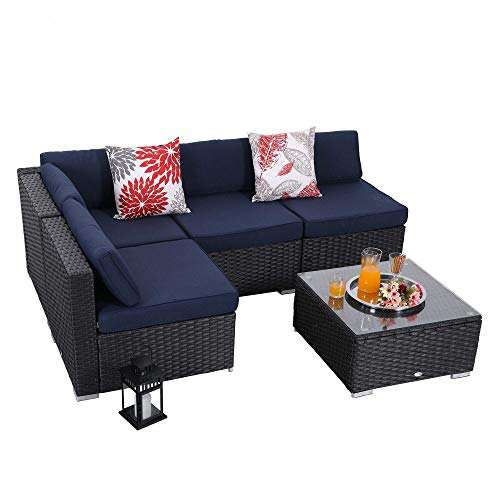 PHI VILLA Outdoor Furniture Wicker Patio Sectional Sofa Rattan Couch Set with Tea Table (5-Piece, Blue) (Piece Sectional 5)