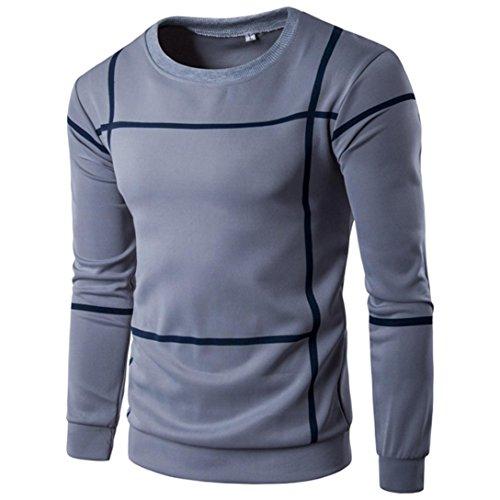 (Han Shi Pullover Tops, Fashion Men Striped Long Sleeve O Neck Casual Sweater Outwear Shirt (L,)