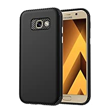 "MOONCASE Galaxy A5 2017 Case, Carbon Fiber Resilient [Drop Protection] [Anti-Scratch] Rugged Armor Case Cover for Samsung Galaxy A5 2017 A520 5.2"" Black"