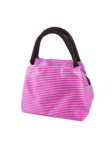 Fucsia Tote Shopping Cerniera Strisce Bag Fucsia Bianche Bianco Design Signore PTdwxP