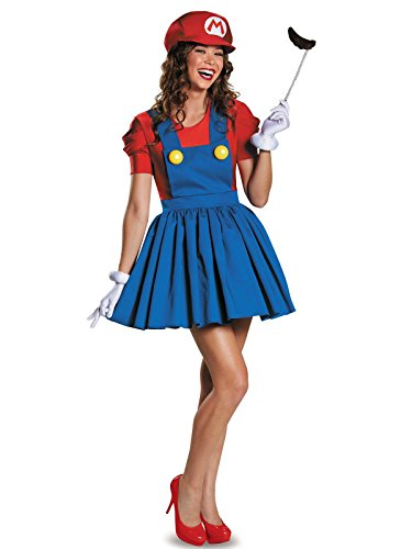 Disguise Women's Mario Skirt Version Adult Costume, Red/Blue, -