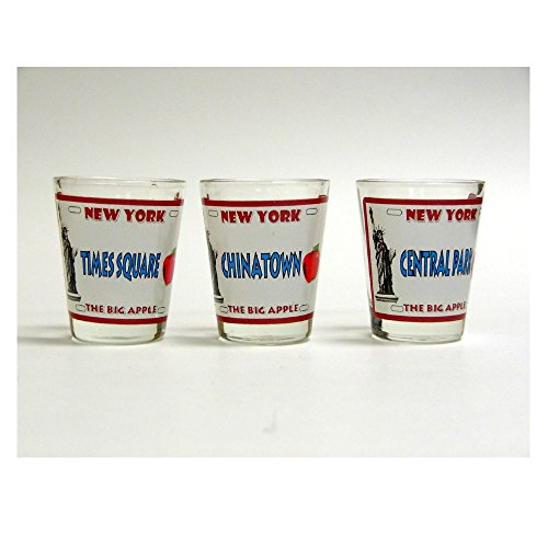 New York City Shot Glass Set of 3 Assorted New York City Souvenir and Gift - Vintage New York License Plates - Time Square Chinatown and Central Park ()
