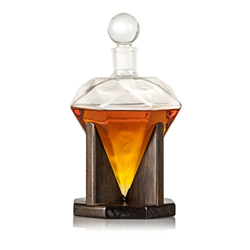 Hand Blown Diamond Whiskey Decanter: Lead Free Glass Designer Decanters with Custom Wood Stand & Airtight Stopper, Decorative Bar Set Tool for Scotch, Bourbon, Rum, Vodka, Wine, Liquors or Spirits - Martini Carafe