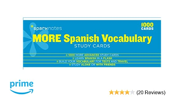 Amazon com: More Spanish Vocabulary SparkNotes Study Cards