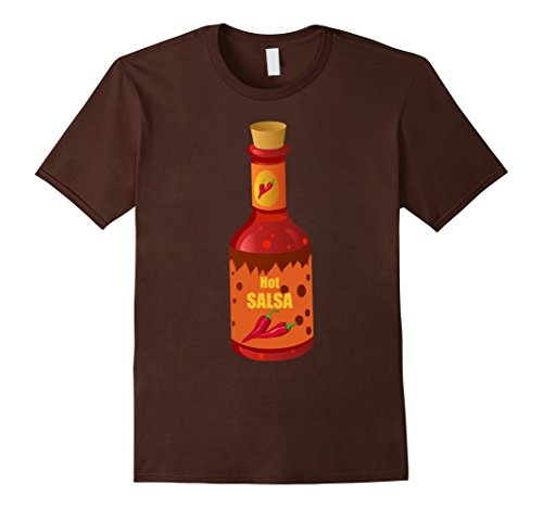 Mens Hot and Spicy Salsa Bottle Costume T-Shirt Mexican Food Medium Brown - Salsa Costume Male