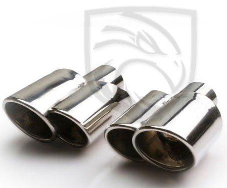 Exhaust Tip Dual Fused Oval Rolled Edge Porsche Turbo Style (Left and Right Side) 2.25