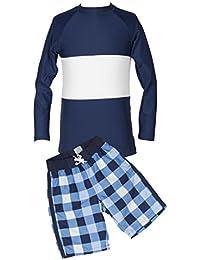 Long-Sleeve Rash Guard Swim Shirt Swimsuit and Trunk Set for Boys'