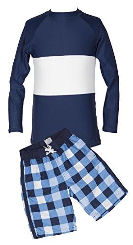 Stripe Plaid Long-Sleeve Rash Guard Swim Shirt