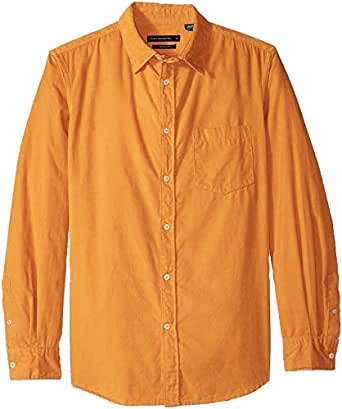 French Connection Men's Long Sleeve Corduroy Button Down Shirt, Calluna Yellow Cord, S