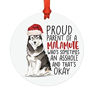 Andaz Press Round MDF Natural Wood Christmas Tree Ornament Dog Lover's Gift, Malamute, Watercolor, 1-Pack, Pet Animal Birthday Gift for Him Her Dog Mom Family 6