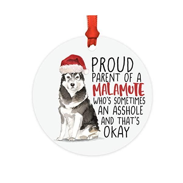 Andaz Press Round MDF Natural Wood Christmas Tree Ornament Dog Lover's Gift, Malamute, Watercolor, 1-Pack, Pet Animal Birthday Gift for Him Her Dog Mom Family 1