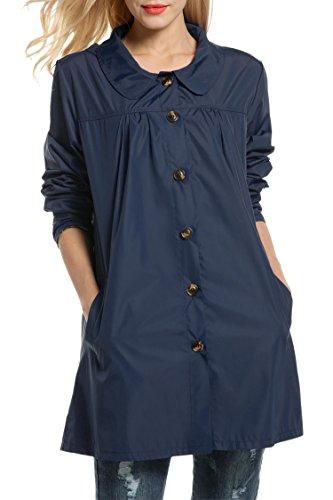 Pour cooshional Sports Lgre Bleu Marine Coat Veste Impermable Trench Jacket Capuchonn Gabardine Extrieurs Boutonn Femme PPwSUCqx