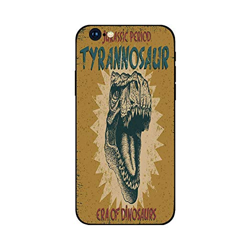 - Phone Case Compatible with iphone6 Plus iphone6s Plus MobilePhoneProtectingShell BrandNew Tempered Glass Backplane,Retro Poster,Grunge Style Vintage Label with Tyrannosaur Dinosaur Jurassic Fossil