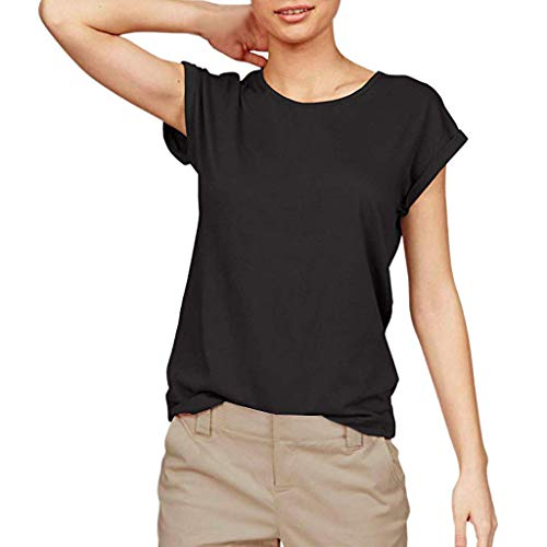 LIM&Shop Women Summer T-Shirt Casual Tunic Top Short Sleeves Blouse Round Neck Loose Pullover Comfy Vest Basic Shirt Black
