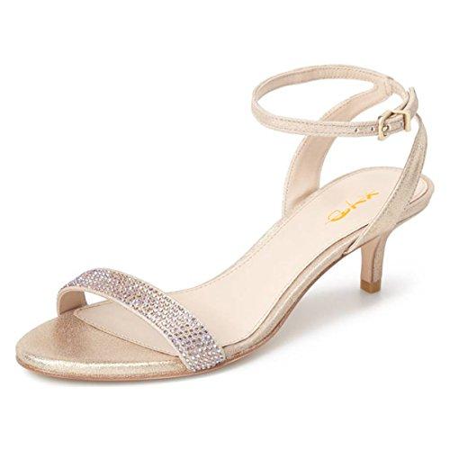 (XYD Women Open Toe Ankle Strap Slingback Sandals Kitten Heel Rhinestone Studded Buckle Dress Pumps Size 9 Nude)