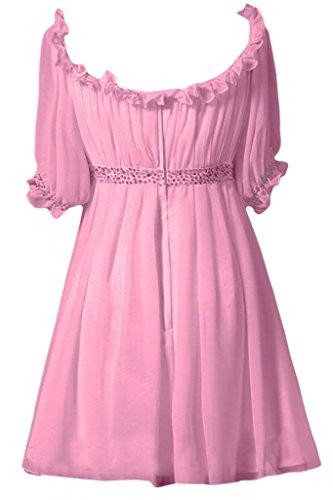 rosa damigella Sunvary per feste elegante Bateau corte per A d'onore fucsia Abito A maniche Line Chiffon Maglia vvSqrZ