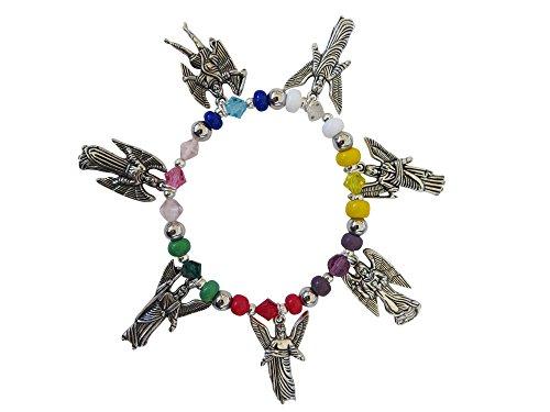 Bracelet with Seven Archangels Silver-Tone Charms Angels Pulsera de Los Siete Arcngeles
