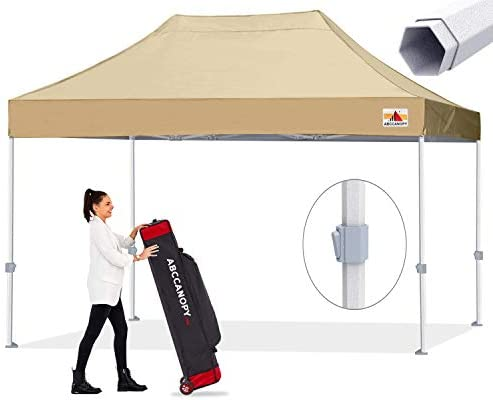 ABCCANOPY Premium Pop up Canopy Tent Outdoor Commercial Grade Instant Shelter, Bonus Wheeled Carry Bag and 4 Sand Bags, Beige