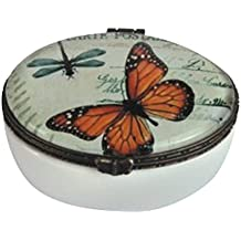 """StealStreet SS-G-22003 Orange Butterfly and Dragonfly Trinket Box with Hinges, 2.75"""""""