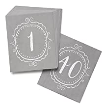 Hortense B. Hewitt Wedding Accessories Charming Vintage Table Cards, Numbers 1 to 40, Grey/White