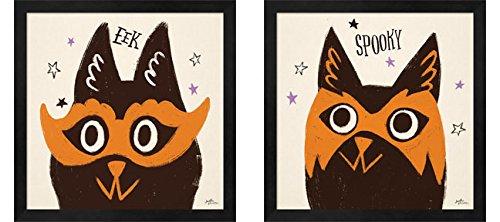 Spooktacular A by Janelle Penner, 2 Piece Black Framed Art Set, 13 X 13 Inches Each, Halloween Art ()