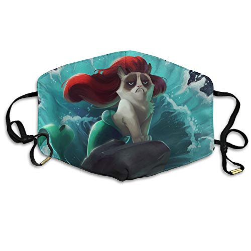 Sexy Mermaid Grumpy Cat Anti Dust Face Mask,Reusable Warm Windproof Mouth Mask