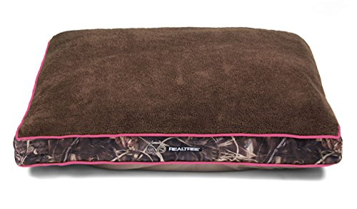 Dallas WG3040-930.2 Realtree Gusseted Pet Bed, Camo with Pink Piping, 40