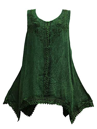 Indian Bohemian Marble Wash Embroidered Cotton Sleeveless Cami Blouse Top (Regular, ()
