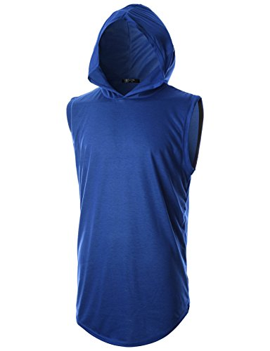 GIVON Mens Slim Fit Hipster Sleeveless Hoodie with Kanga Pocket/DCF025-BLUE-XL ()