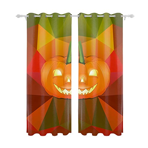 Verna Christopher Halloween Background Print Curtains for Bedroom Curtain Window Treatment Set for Living Room - 55