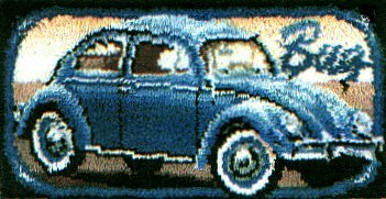 Red VW Bug Latch Hook Rug or Wall Hanging Kit by Bernat. Acrylic Yarn