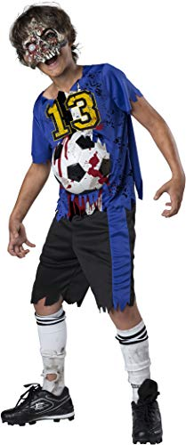 Fun World Easter Unlimited Soccer Player Zombie Halloween Costume for Boys, Medium, Includes Shirt, Shorts, and Mask -