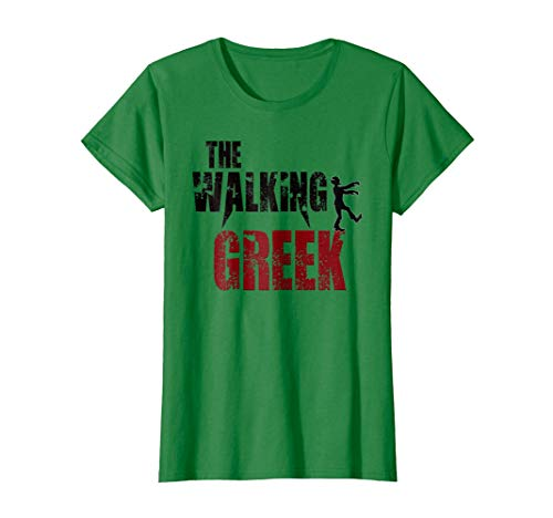Womens Walking Greek gift t shirts, Greece Athens scary zombie tee Large Kelly Green