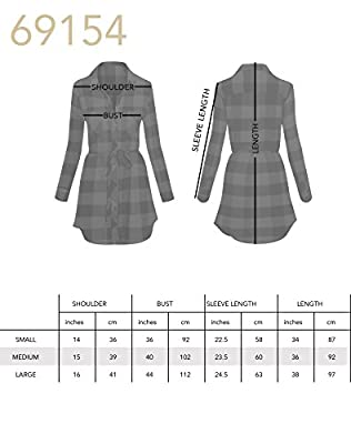 Women's Long Sleeve Button Up Plaid Flannel Belted Tunic Shirt Dress