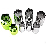 Vegetable Cutter Shapes Set,Mini Pie,Fruit and Cookie Stamps Mold,Cookie Cutter Decorative Food,for Kids Baking and Food Supplement Tools Accessories Crafts for Kitchen,Green(8 Pack)